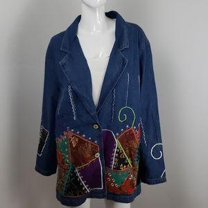 Indigo Moon embroidered patch art denim blazer